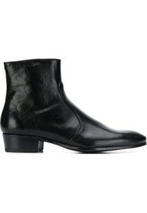 Lidfort Ankle Boot Com Efeito Pele De Cobra - Preto