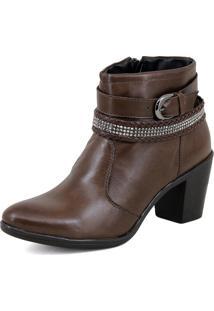 Bota Feminina Couro Ankle Boots Cano Médio Café