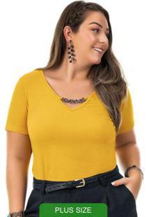 Blusa Com Aviamento Amarelo