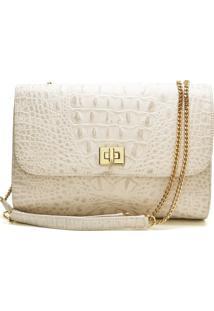 Bolsa De Couro Hendy Bag Crocô Marfim