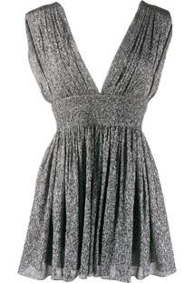 Saint Laurent Vestido Mini De Seda Metalizado Com Pregas - Prateado