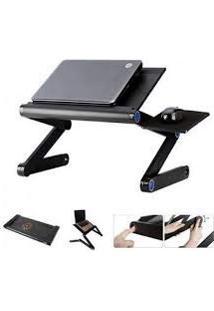Mesa Portatil Notebook Tablet Em Aluminio Ajustavel Com Cooler De Refrigeracao Articulada Para Cama E Sofa