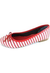Sapatilha Bico Redondo Sapatoweb Listras Vermelho E Branco