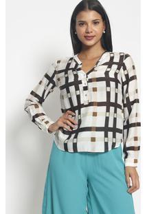 Blusa Com Seda Botões- Branca Marrom Escuro- Vipvip Reserva