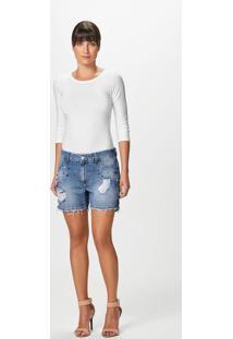Bermuda Boyfriend Jeans Apliques Malwee