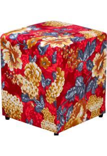 Puff Decorativo Lymdecor Quadrado Vermelho Estampado