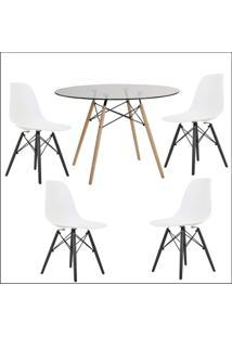 Conjunto Mesa De Jantar Mesa Vidro 120Cm Cadeira Eiffel 4 Cadeiras Assento Branco Base Preto