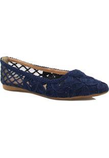 Sapatilha Zariff Shoes Floral Renda - Feminino-Azul