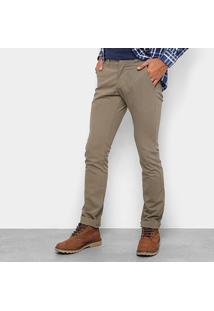 Calça Sarja Skinny Wrangler Masculina - Masculino-Cáqui