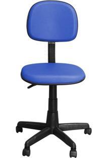 Cadeira Pethiflex Cs-02 Secretária Giratória Couro Azul