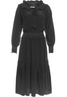 Vestido De Seda Midi Folk Isabella Fiorentino Para Oqvestir - Preto