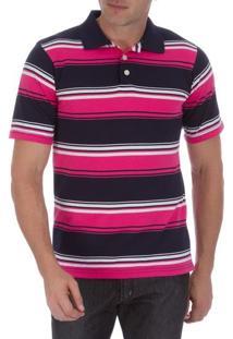 Camisa Polo Masculina Rosa Listrada - M