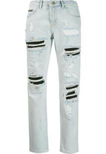 Philipp Plein Calça Jeans Boyfriend Statement - Azul