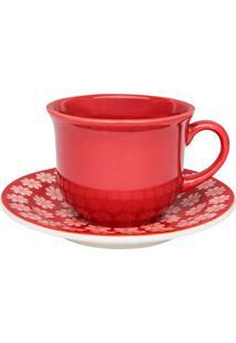 Xícara De Café Daily Floreal Renda Com Pires 65Ml Vermelha E Branco