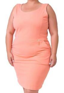 Vestido Midi Super Power Plus Size - Feminino-Coral