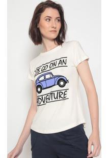 "Camiseta ""Adventure""- Off White & Azulclub Polo Collection"