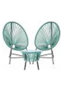 Cadeiras De Área E Mesa Acapulco Bahamas Azul Turquesa Corda Sintetica (2 Unidades)