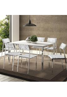 Mesa 1526 Branca Cromada Com 6 Cadeiras 1709 Fantasia Branco Carraro