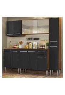 Cozinha Completa Madesa Emilly Fast Com Balcão, Armário Vidro Miniboreal E Paneleiro - Rustic/Preto Cor:Rustic/Preto