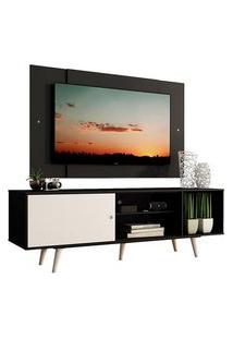 Rack Madesa Dubai Com Pés E Painel Para Tv Até 58 Polegadas Preto/Branco 7777 Preto