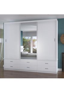 Guarda-Roupa Casal 3 Portas Com 1 Espelho 100% Mdf 1397E1 Branco - Foscarini