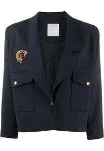 Sandro Paris Cropped Blazer Jacket - Azul