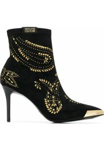 Versace Jeans Couture Ankle Boot Com Tachas - Preto