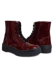 Bota Feminina Sw Shoes Salto Baixo Bordô