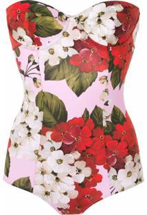 Dolce & Gabbana Maiô Floral Alças Finas - Rosa