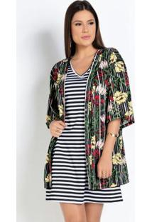 Kimono Floral Modelagem Ampla