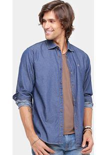 Camisa Jeans Forum Super Escura Masculina - Masculino-Jeans