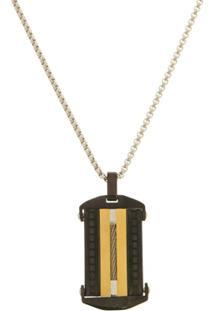 Pingente Placa Black E Gold Com Cabo Náutico Tudo Joias De Aço Inox Modelo Gourmet - Unissex-Dourado