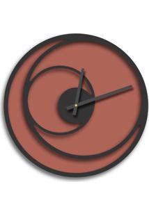 Relógio De Parede Premium Cobre Metálico Com Relevo Preto Ônix 50Cm Grande