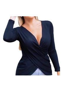 Camiseta Blusa Bata Transpassada Manga Longa Feminina