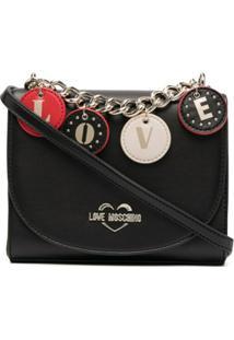 Love Moschino Chain-Link Detail Shoulder Bag - Preto