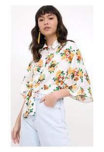 Camisa Floral Nó Frente