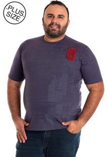 Camiseta Básica Konciny Manga Curta Plus Size Lilás
