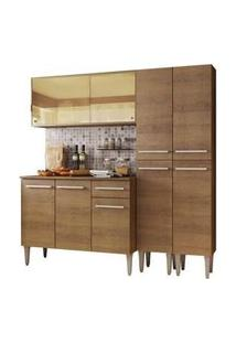 Cozinha Completa Madesa Emilly Voice Com Armário Vidro Reflex, Balcão E Paneleiros Rustic
