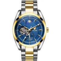 44a1972f3fa Relógio Tevise T795C Masculino Automático Pulseira Aço - Azul E Dourado