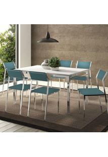 Mesa 1526 Branca Cromada Com 6 Cadeiras 1709 Turquesa Carraro