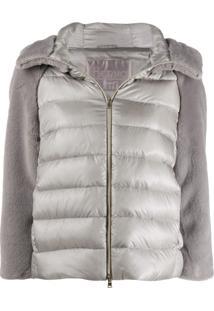 Herno Contrasting Sleeve Puffer Jacket - Cinza