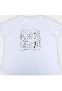 Camiseta Plus Size Live! Icon Lux Feminina - Feminino-Branco