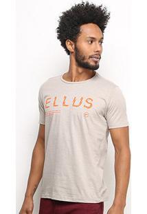 Camiseta Ellus Logo Mirror Masculina - Masculino-Cáqui