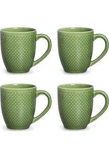 Conjunto De Canecas Pois Verde Em Cerâmica 340 Ml Com 04 Peças - Porto Brasil