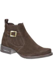 Botina Bico Redondo Urbana Boots Feminina - Feminino-Marrom