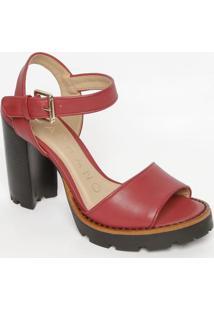 Sandália Em Couro Tratorada- Vermelho Escuro & Pretacarrano