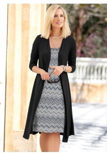 Vestido Visual Duplo Preto