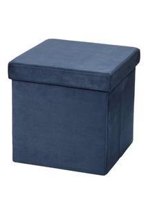 Puff Baú Desmontável Para Sala Quarto Suede Azul 38X38 M01 - Lyam Decor