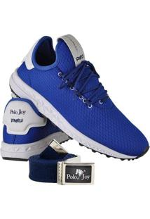 Kit Tênis Runner Polo Joy Sport Com Cinto Masculino - Masculino-Azul