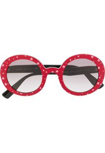 Miu Miu Eyewear Óculos De Sol Redondo Com Estampa De Estrela - Vermelho